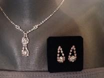 NOVÝ set, souprava náušnice a náhrdelník, štras