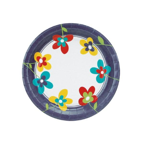 Párty talíř papírový 23cm á10ks - SUMMER FLOWERS  ---  82751
