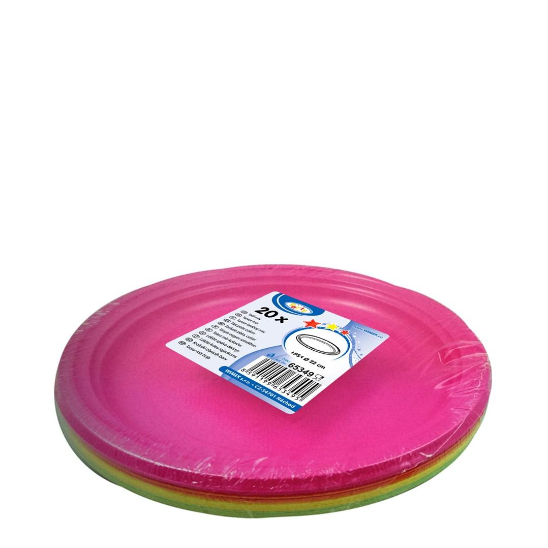 Párty talíř barevný 22cm á 20ks mix 65349