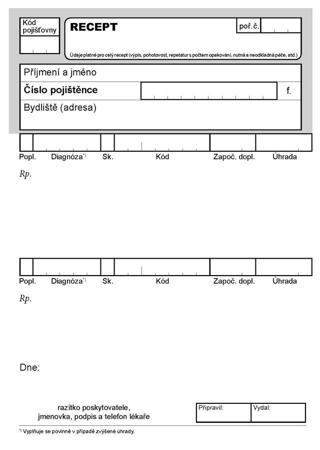 Lékařský recept A6 volný list  200KS OP209