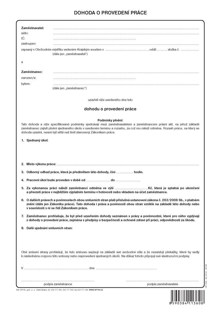 Dohoda o provedení práce OP136