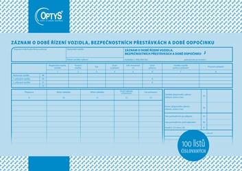 Záznam o provozu nákl. vozidla čísl. A4 OP166