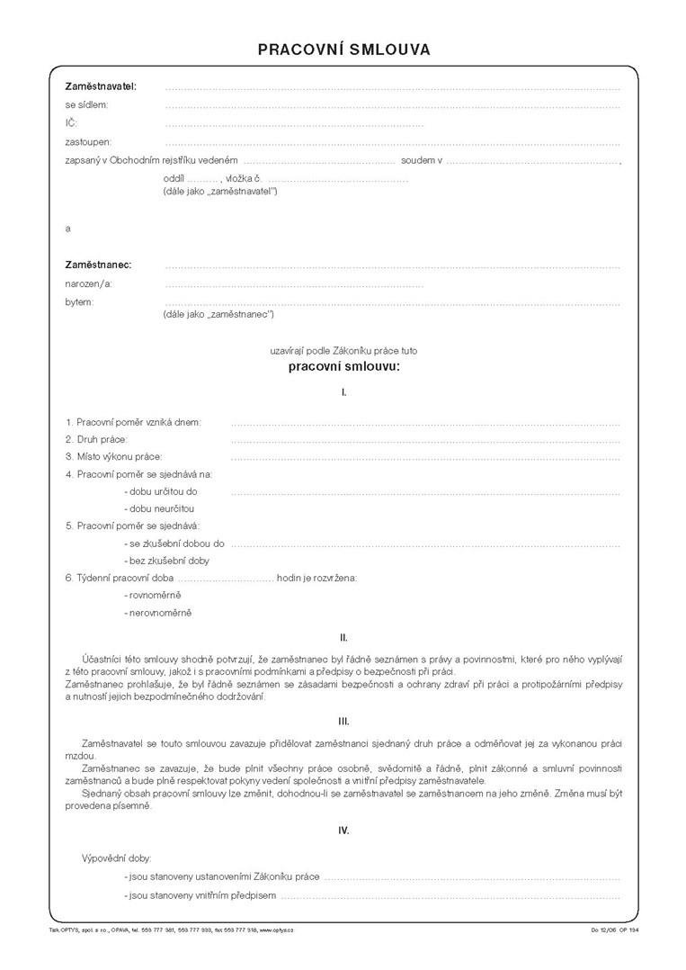 Pracovní smlouva OP134