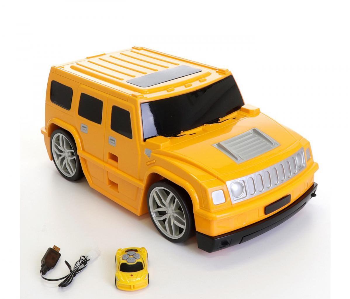 Dětský cestovní  kufr AUTO na dálkové ovládání  2,4GHz - oranžové