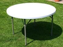 Skládací plastový stůl kulatý, průměr 115 cm