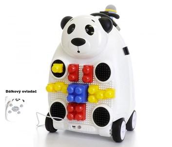 Dětský cestovní kufr PANDA  s dálkovým ovladačem, mikrofonem a stavebnicí