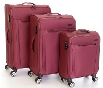 Sada 3 kufrů T-Class  CTS0008 textilní +  TSA zámek , vínově červená