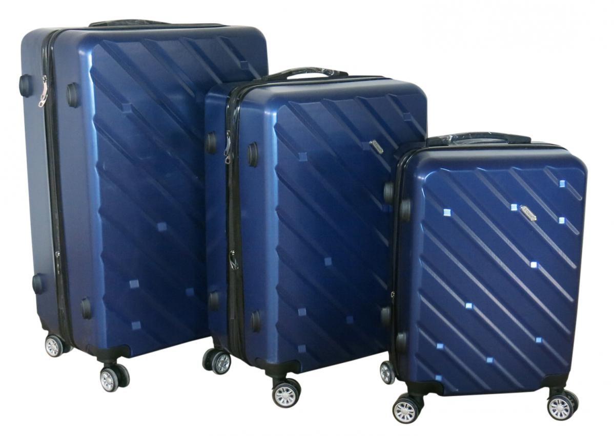 Sada 3 kufrů T-Class TPL-7001 tmavě šedá , TSA zámek, rozšiřitelné,tmavě modrá
