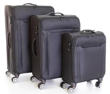 Sada 3 kufrů T-Class  textilní +  TSA zámek,  černá