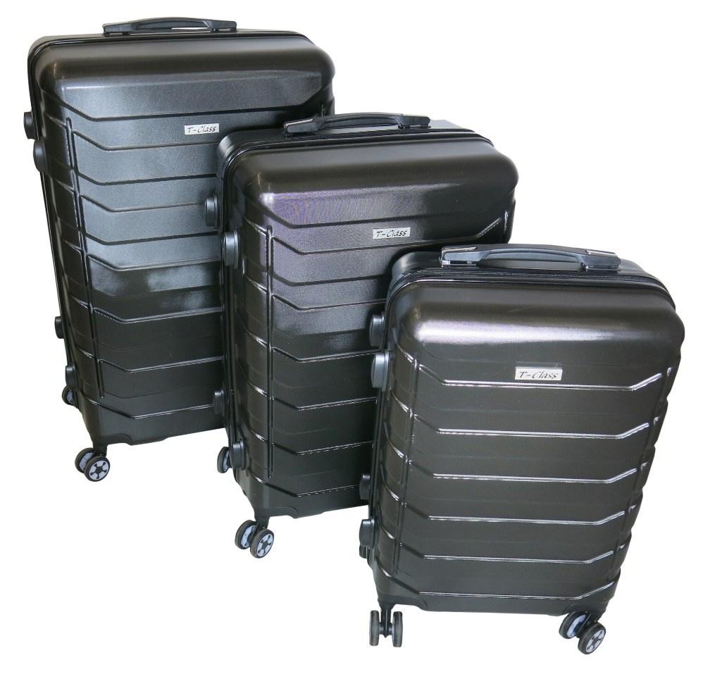 Sada 3 cestovních kufrů T-Class TC618 s TSA zámkem matná černá