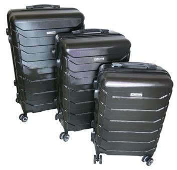 Sada 3 cestovních kufrů T-Class® TC618 s TSA zámkem matná černá