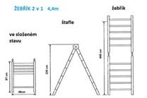 Teleskopické hliníkové štafle / žebřík  RONO  (  2,2m + 2,2m / 4,4m )