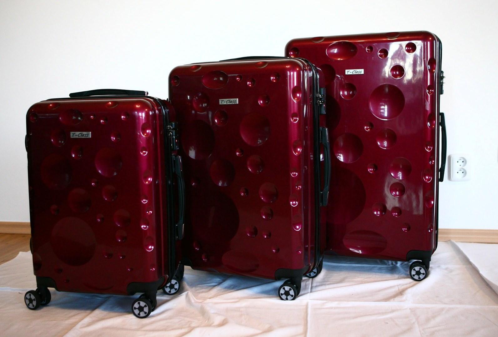 Sada 3 kufrů T-Class TC628,s TSA zámkem vínová