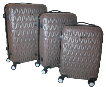 Sada 3 cestovních kufrů T-Class® TPL3018 z lehkého ABS plastu, hnědá - poslední kus
