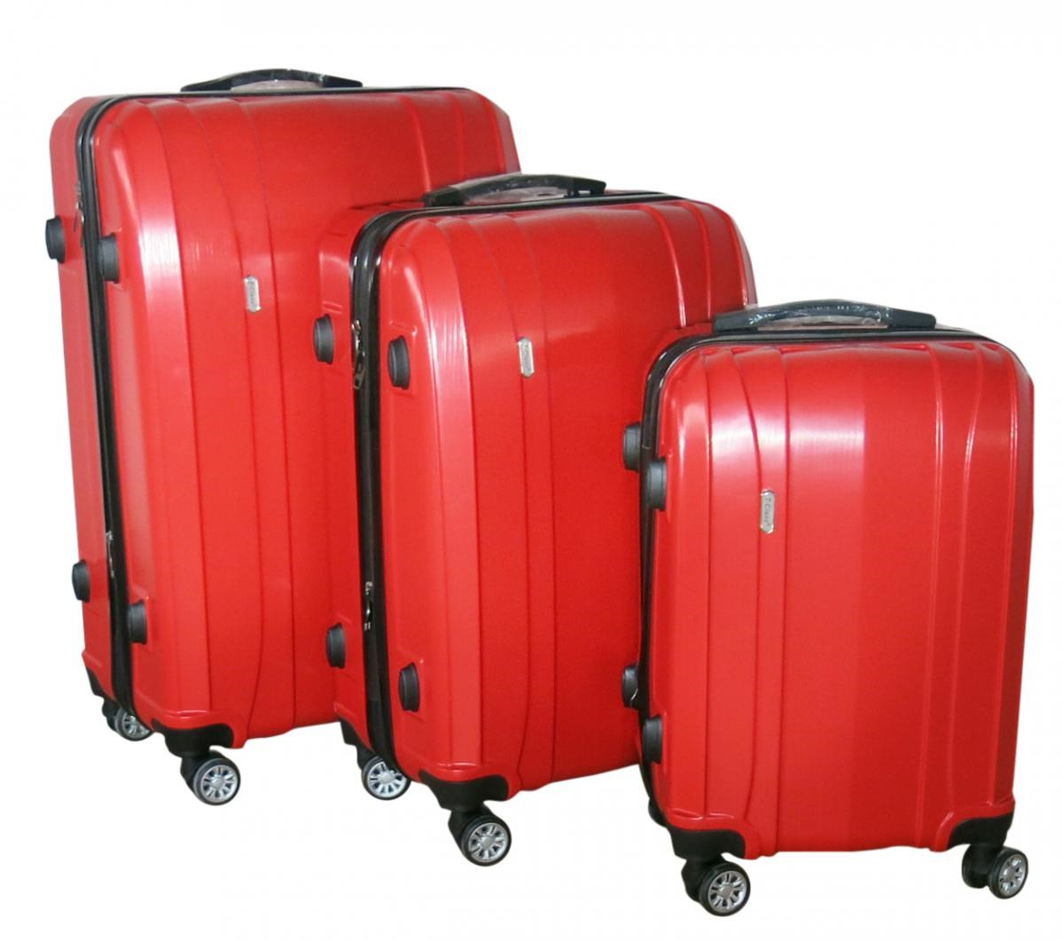 Sada 3 kufrů T-Class TPL-7002 červená, TSA zámek, rozšiřitelné, červená