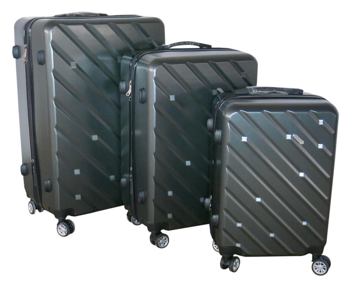 Sada 3 kufrů T-Class TPL-7001 tmavě šedá , TSA zámek, rozšiřitelné,tmavě šedá