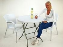 Kavárenský skládací stůl plastový, průměr 80 cm