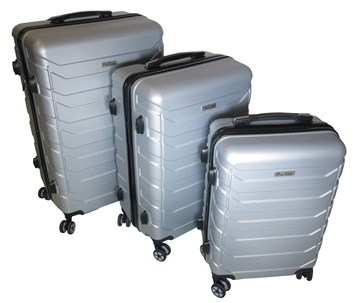 Sada 3 cestovních kufrů T-Class® TC618 s TSA zámkem matná stříbrná