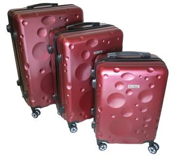 Sada 3 cestovních kufrů T-Class® TC628,s TSA zámkem vínově červená matná