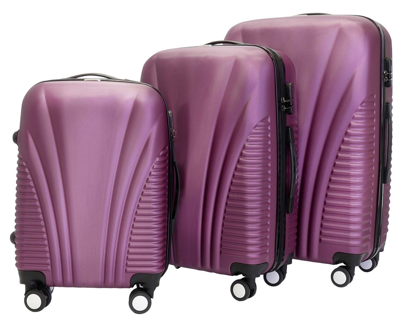 Sada 3 kufrů T-Class TC3008 s TSA zámkem fialová