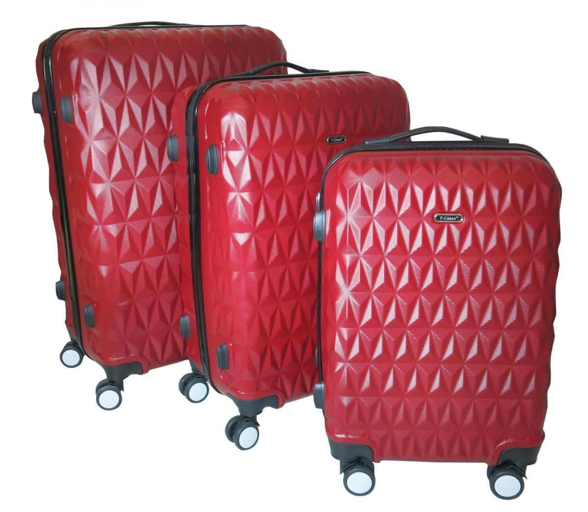 Sada 3 cestovních kufrů T-Class TPL3018 z lehkého ABS plastu, červená bordó