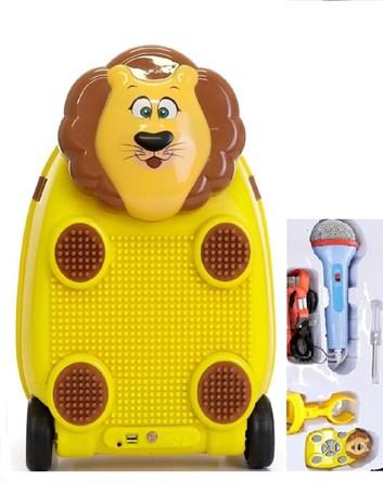 Dětský cestovní kufr LEV s dálkovým ovladačem, mikrofonem a stavebnicí