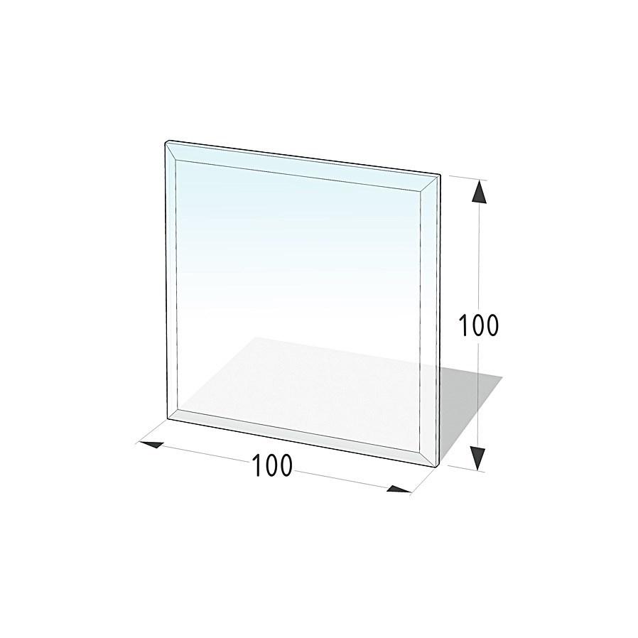 Lienbacher Sklo pod krbová kamna čtverec  100x100 cm s fazetou 20 mm síla skla 6mm