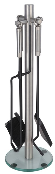 Lienbacher Luxusní krbové nářadí, nerezový stojan a rukojeť, podstava-tvrzené sklo 27/67 cm