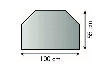 Lienbacher Sklo pod krbová kamna Obdelník-sražené rohy  100x55 cm 3 hrany s fazetou síla skla 6mm
