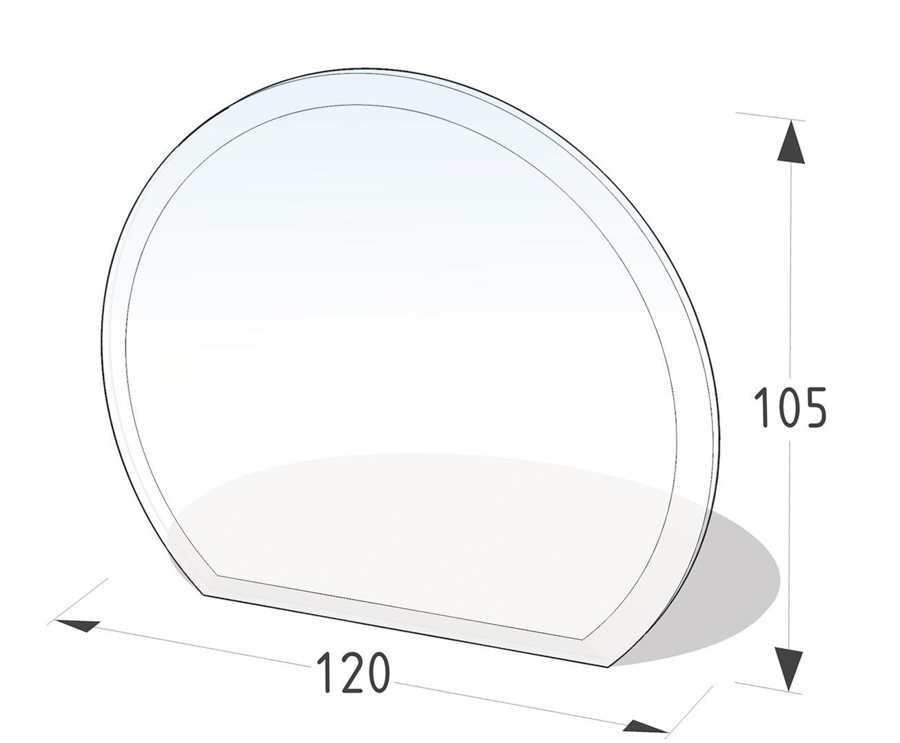 Lienbacher Sklo pod krbová kamna část kruhu  120x105 cm 3 hrany s fazetou síla skla 6mm