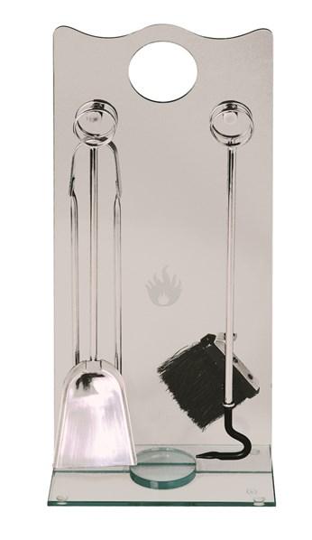 Lienbacher Luxusní krbové nářadí, stojan z tvrzeného skla, nářadí z nerezu š/h/v  29/16/68 cm