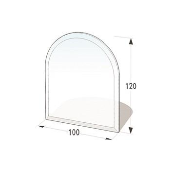 Lienbacher Sklo pod krbová kamna půloblouk  100x120 cm s fazetou 20 mm síla skla 8 mm