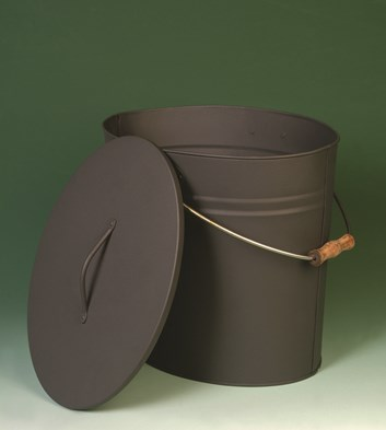 Lienbacher nádoba s víkem na popel, uhlí, nebo peletky- černá - matné. prům. 34, výška 30 cm
