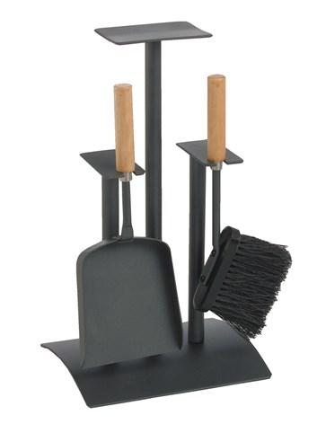 Lienbacher Krbová souprava 2-díly barva antracit, rukojeť dřevo   š/h/v  24/20/42 cm