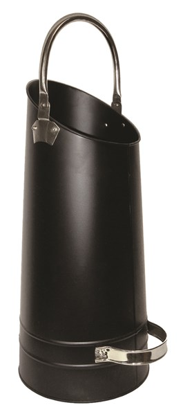 Lienbacher nádoba na uhlí a dřevo - černá, držadlo niklované-matné. prům. 25, výška 58cm