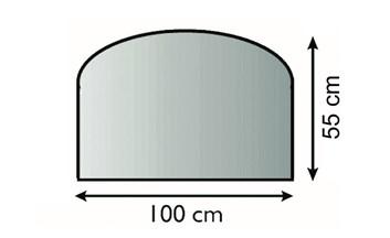 Lienbacher Sklo pod krbová kamna Oblouk  100x55 cm 3 hrany s fazetou síla skla 6mm