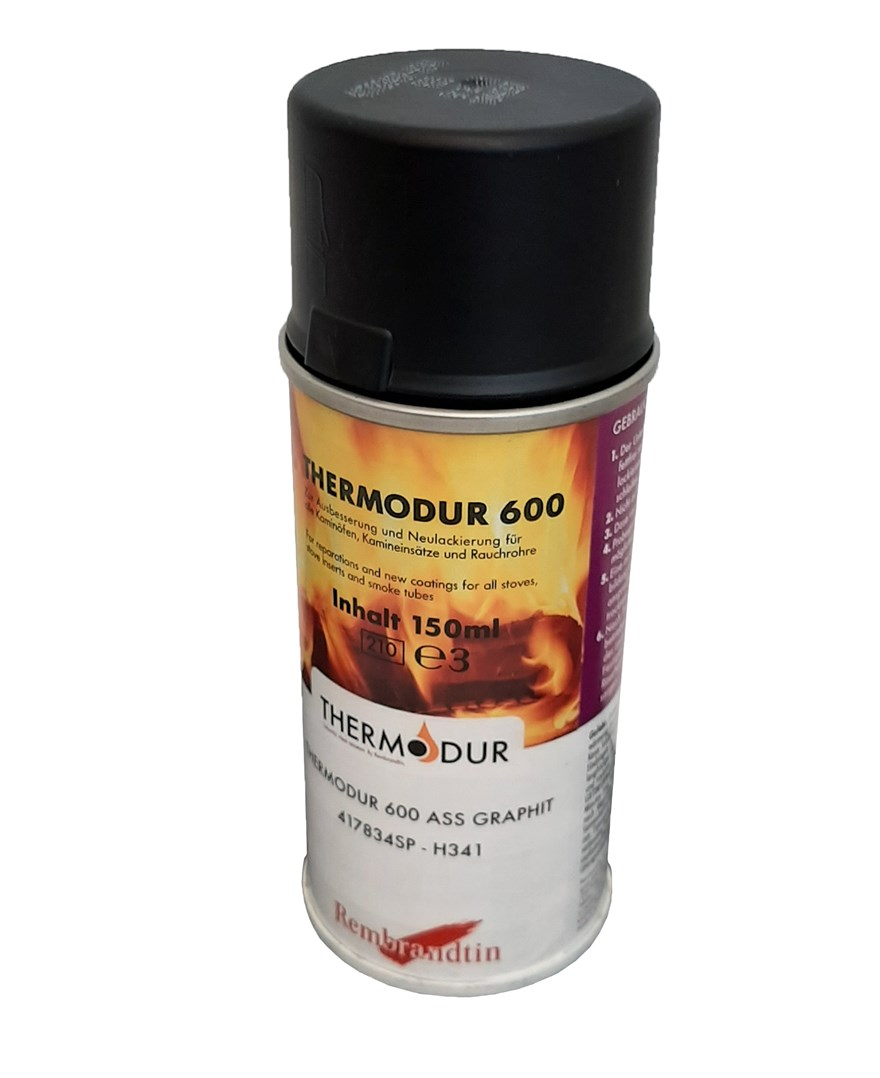Žáruvzdorná barva THERMODUR 600 na krbová kamna a kouřovody : spray 400ml