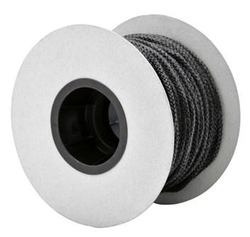 Těsnící šňůra kulatá, pletená černá  ø 8mm. Teplotní odolnost do 550°C