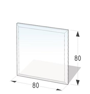 Lienbacher Sklo pod krbová kamna čtverec  80x80 cm s fazetou 20 mm síla skla 8 mm