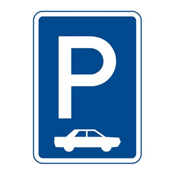 Dopravní značka IP11b - Parkoviště (kolmé nebo šikmé stání)