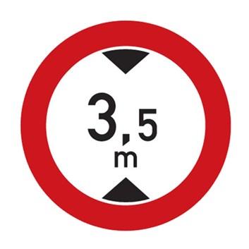 Dopravní značka B16 - Zákaz vjezdu vozidel, jejichž výška přesahuje vyznačenou mez