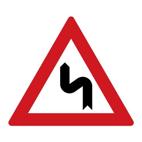Dopravní značka - Dvojitá zatáčka, první vlevo