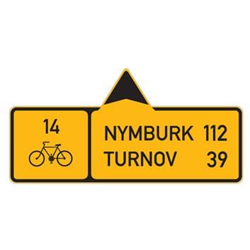 Cyklo značka IS19b - Směrová tabule pro cyklisty (s dvěma cíli)