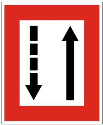 Plavební znak B3b - Příkaz přidržovat se strany plavební dráhy, která je po pravém boku