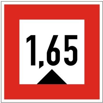 Plavební znak C1 - Hloubka je omezena (pokud je uvedeno číslo, stanoví hloubku v metrech)