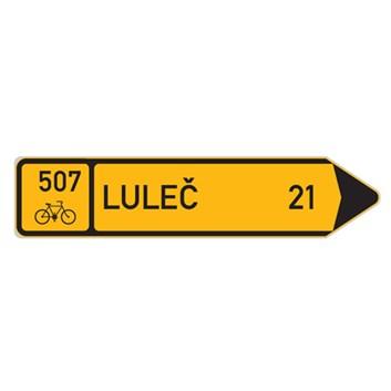 Cyklo značka IS19c - Směrová tabule pro cyklisty (s jedním cílem)