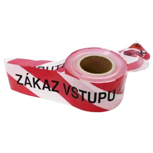 "Vytyčovací páska - výstražná - červenobílá, s nápisem ""zákaz vstupu""  80mm x 250m x 45mikronu"
