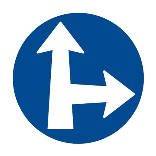 Dopravní značka - Příkazová - Přikázaný směr jízdy přímo a vpravo, C2d