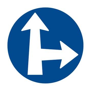 Dopravní značka C2d - Přikázaný směr jízdy přímo a vpravo