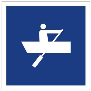 Plavební znak E19 - Plavba plavidel, které nejsou plachetnicemi ani nemají vlastní pohon, povolena